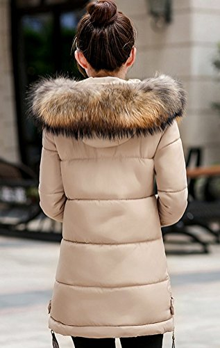 Magike Blouson Manteau Veste Faux Doudoune Causal Marron Femme Jacket Chaud Capuche Hiver Fourrure Long PXZOTiuk