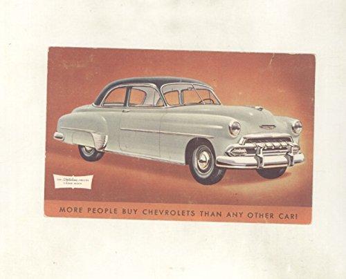1952 Chevrolet Styleline Deluxe 2 Door Sedan ORIGINAL Factory Postcard Styleline Deluxe 2 Door Sedan