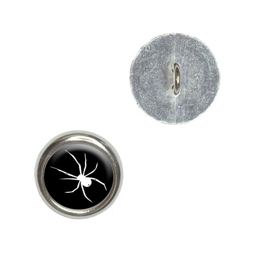 Spider - White on Black Metal Craft Sewing Novelty Buttons - Set of 4