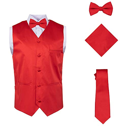 Vittorino Mens 4 Piece Formal Vest Set Combo with Tuxedo Vest Tie Bow Tie and Handkerchief, Red, Large (Vested Suit Tuxedo)