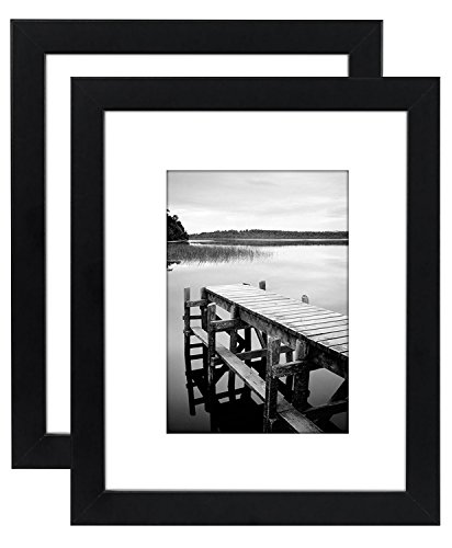 Americanflat 2 Pack - 8x10 Black Picture Frames - Display Pictures 5x7 with Mats - Display Pictures 8x10 Without - Black 8x10 Mat Picture Frame With