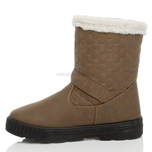 Ajvani Womens ladies calf ankle hook & loop button quilted winter snow flat fur boots size Dark Brown Khaki yRmVQs7G