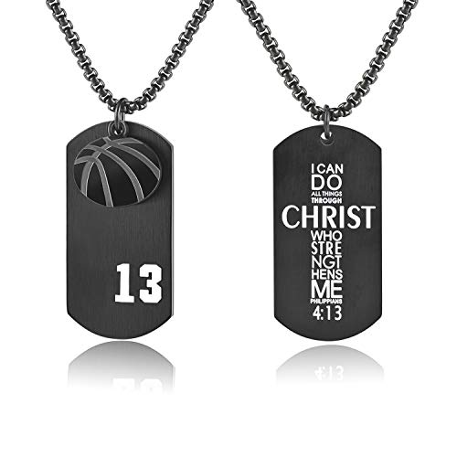 (Men's Basketball Player Number 13 Stainless Steel Dog Tag Pendant I Can Do All Things Necklace (Black))