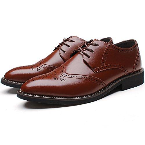 Rismart Homme Mode confortable Travail Espace Cuir Fendu Oxfords Chaussures 856 (Marron,EU45.5)