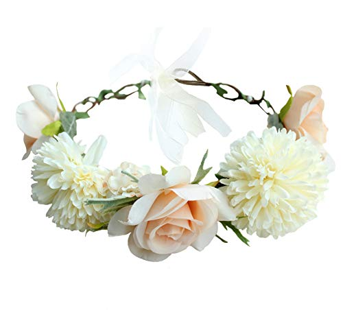 (Vivivalue Boho Flower Crown Rose Flower Headband Hair Wreath Floral Headpiece Halo with Ribbon Wedding Party Photos Festival Beige )