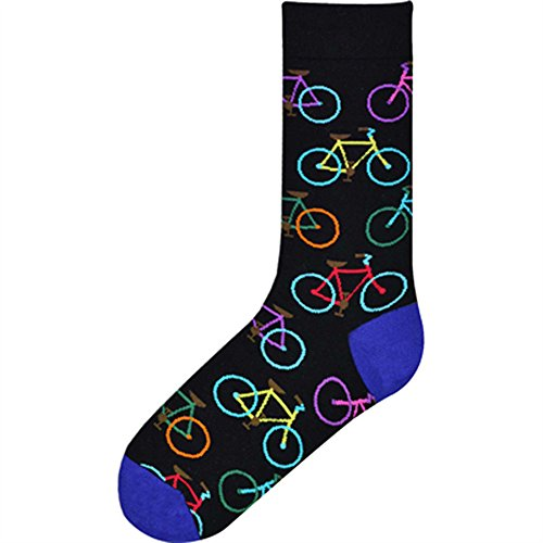 K. Bell Socks Men's Crew, Bright Bikes, 10-13