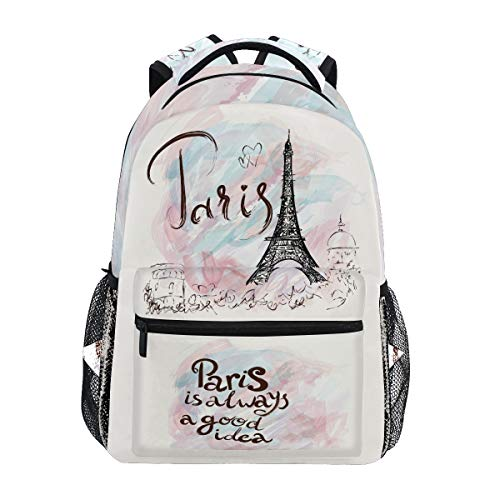 Wamika Eiffel Tower Backpacks for Women Men, Romantic France Paris Computer Laptop Backpack, Pink Marble Watercolor Casual Book Bag Travel Hiking Camping Daypack