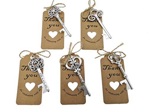 50pcs Skeleton Key Bottle Opener Wedding Party Favor Souvenir Gift with Escort Tag and Jute Rope(Silver Tone,5 styles) -