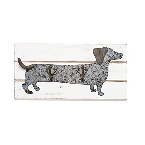 Dachshund Leash Hook - Mud Pie Dachshund Dog Wall Hook, Silver