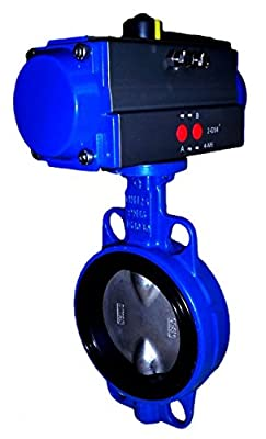 "2"" Air Actuated Butterfly Valve 125# Wafer DI SS 80 PSI SR Fail Open Actuator 200 PSI Line Pressure by Max-Seal Actuated"