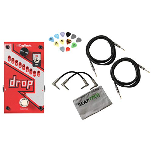 (Digitech DROP Compact Polyphonic Drop Tune Pitch-Shifter w/Power Supply, 4 Cabl)