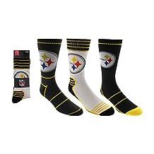 Men's NFL Pittsburgh Steelers 3-Pack Sport Crew Socks