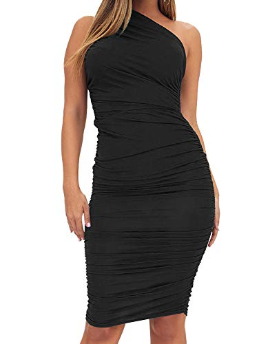 TOB Women's Sexy Bodycon Ruched One Shoulder Sleeveless Club Knee Length Dress Black