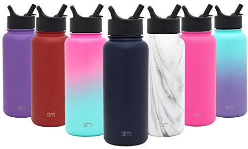 Simple Modern 18 Ounces Summit Water Bottle with Straw Lid - Vacuum Insulated Wide Mouth Travel Mug 18/8 Stainless Steel Flask - Deep Ocean