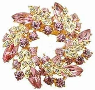 ゴージャス リース型 ブローチ プレゼント ギフトに最適 花 ブローチ