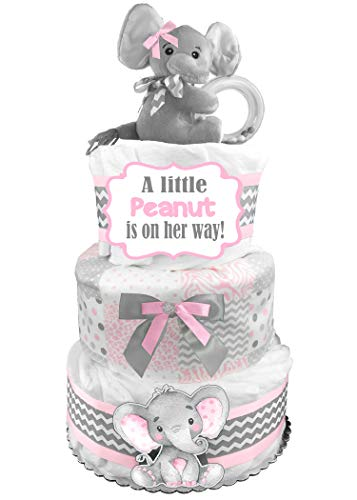 Elephant 3-Tier Diaper Cake - Little Peanut - Baby Shower Gift - Pink and Gray ()