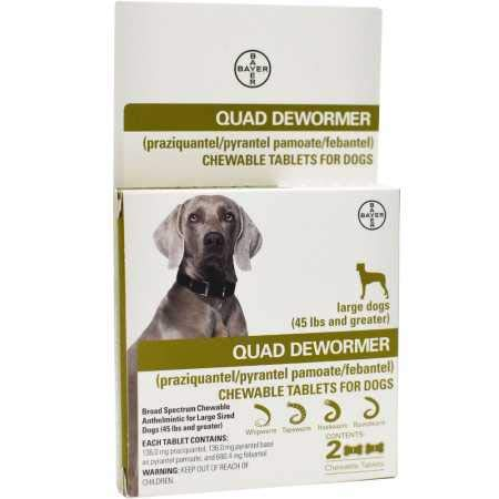 Bayer Animal Health Quad Dewormer for Large Dogs (Over 45 lbs) 2 Chewable Tablets by Bayer Animal Health