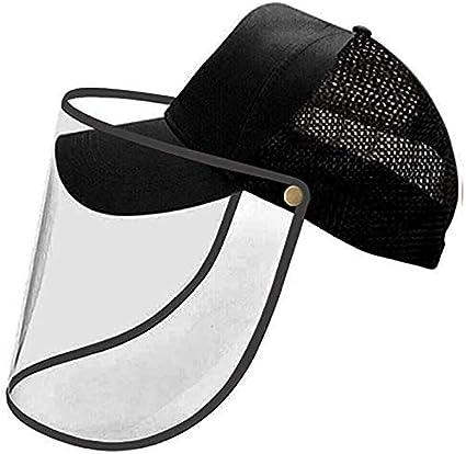 noir Fonetic Solutions Protection int/égrale T/ête de Baseball Casquette Visi/ère Masque Viseur Bouclier Visage Anti Crachage Transparent Couverture Pour Hommes Femmes
