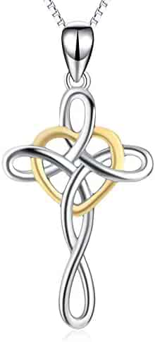 YFN Women Jewelry 925 Sterling Silver Platinum Polished Eternal Celtic Knot Cross Pendant Necklace 18