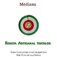 Roseta artesanal tricolor en papel china pintada a manos / tricolor handmade rosette