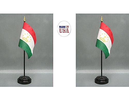 "Made in The USA. 2 Tajikistan Rayon 4""x6"" Miniature Office Desk & Little Hand Waving Table Flags Includes 2 Flag Stands & 2 Small Mini Tajik Stick Flags"