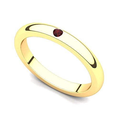 14k Yellow Gold Bezel set Garnet Band Ring