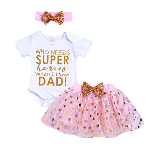 Baby Girls My 1st Mother's Day Father's Day Romper Tutu Dress Headband Outfit for 3 6 9 12 24 Months (Pink_dad, 6-12 Months) ()