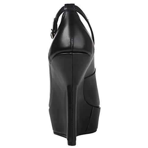 AIYOUMEI Escarpins Cuir Plateforme Femme Sexy Bride Cheville Chaussure Compensée Femme Été Partie/Soiré Noir K7zwIehG1m
