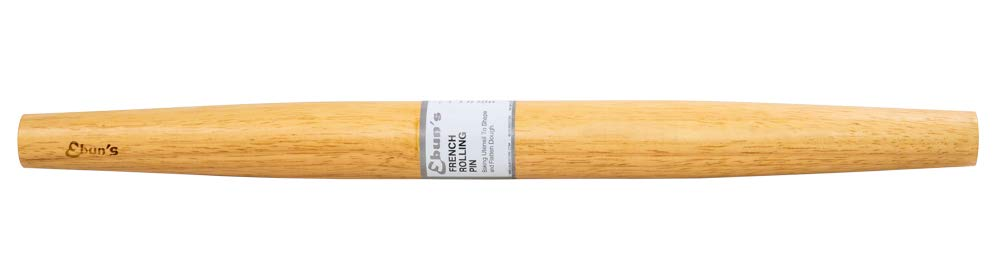 "Ebuns French Rolling Pin for Baking Pizza Dough, Pie & Cookie - Essential Kitchen utensil tools gift ideas for bakers (French Pins 18"" inches) 2 🍃18"" inch Rolling Pin is perfect size and length for rolling your dough and storing away.🍃 🍃Hand Crafted and finished Waxed barrels, tapered, easy-grip, for a lifetime of smooth rolling.🍃 🍃To clean the Rolling pin wipe it with a clean cloth. Don't soak a rolling pin or run it under water; the water can hurt the wood. If dough is stuck to the pin, flour the pin lightly, then brush the flour and dough off the pin with a towel. Use a soft brush to clean a textured pin.🍃"