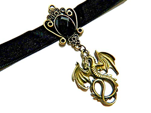 Bronze Dragon Pendant on Black Velvet Choker Necklace Gothic Steampunk Fantasy wyvern Collar (Pendant Velvet Bronze)