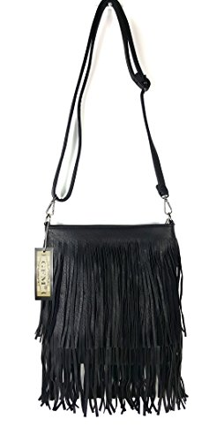 Small Soft Sides Style Smlkl Shoulder Leather Bag bag 1 Both With GFM Tassels Size Faux Tassel on Fringes xXgFwHZqw