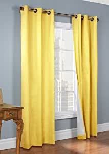 "Gorgeous Home LinenVarious of Colors & Sizes 1 PC #72 , Solid Insulated Foam Backing Lined Blackout Hotel Quality Grommet Top, Silk Window Curtain Panel (84"" Length, Yellow)"