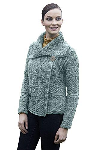 Patchwork Wool - Ladies Patchwork 1 Button Collar Wool Irish Cardigan (Large, Mist Marl)