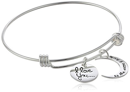 Sterling-Silver-Adjustable-I-Love-You-To-The-Moon-and-Back-Bangle-Bracelet