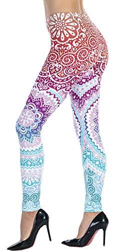 (Ndoobiy Women's Printed Leggings Full-Length Regular/Plus Size Workout Leggings Pants Soft Capri L2(zi Circle)
