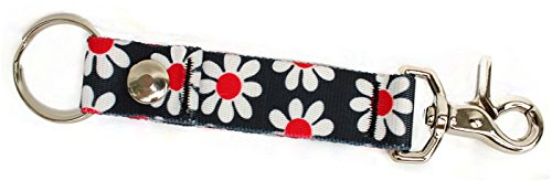 Black / White Daisy Retro Floral - Handy Clip, Snap, & Ring Style Key Webbing Fob Keychain