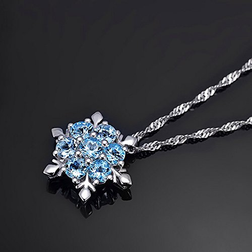 Snowflake Pendant Necklace,Haluoo 925 Sterling Silver Pendant Necklace Women Delicate Rhinestone Snowflake Pendant Chain Dainty Cubic Zirconia Romantic Lewelry Gift Xmas Gifts (Blue)