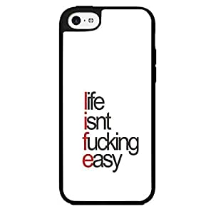 "Red Black and White ""Life..It Isn't F*cking Easy"" Hard Snap on Phone Case (iPhone 5c) by supermalls"