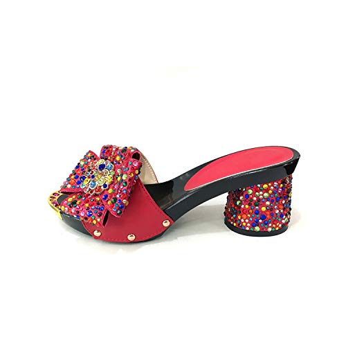 - Party Shoes for Women Ladies Italian Design Shoes Black Color Pu Leather Wedding Shoes,Red,40