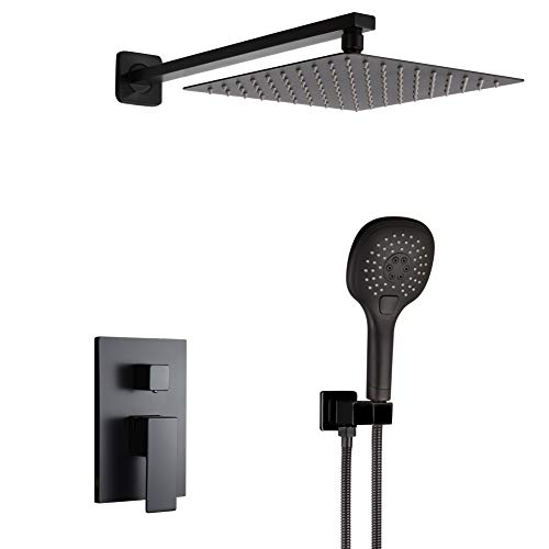 - POP 10 Inch Black Shower System Bathroom Luxury Rain Mixer Shower Faucet Set Wall Mounted Rainfall Shower Combo Set with 3 Spray Setting Handheld(Contain Shower Faucet Rough-In Valve Body and Trim)