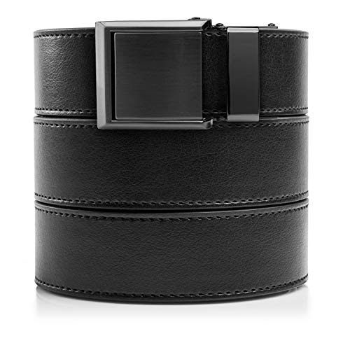 SlideBelts Ratchet Belt with Square Buckle - Custom Fit (Black Leather with Square Gunmetal Buckle (Vegan), One ()
