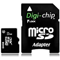 Digi-Chip 64GB CLASS 10 Micro-SD Memory Card for Samsung Galaxy J1, Galaxy J5 and Galaxy J7 Cell Phones