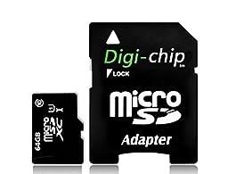 Digi-Chip 64GB CLASS 10 Micro-SD Memory Card for Samsung Galaxy S8, Samsung Galaxy S8+, S8 Plus Smartphones