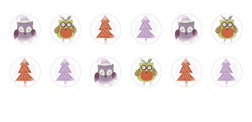 Cute Halloween Comments (12pcs x 14mm Handmade Round Domed Czech Glass Cabochons Cute Christmas Owls Halloween S6T77)