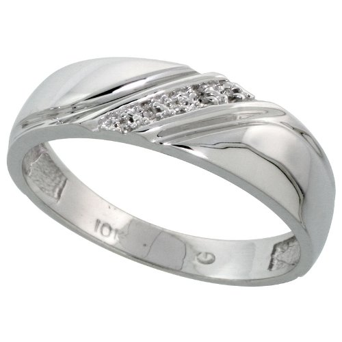 6mm wide 1//4 in. w// 0.03 Carat Brilliant Cut Diamonds Sterling Silver Mens Diamond Band Size 8