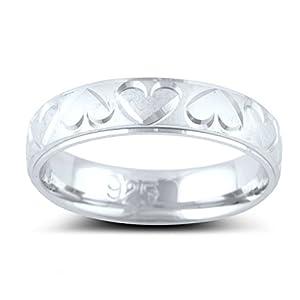Sterling Silver Diamond Cut Heart Wedding Band - Size 6