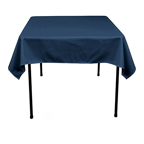 GFCC Pack of 6 54x54'' Navy Blue Polyester Tablecloth Christmas Square Table Cloth Washable Polyester Wedding Party Buffet Table Birthday Party Supplies Decoration -