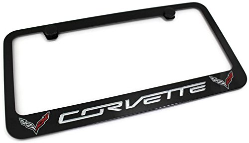c7 z06 corvette stingray black metal license plate frame rotary engraved dual logo