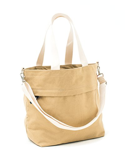Canvas Market Tote by Abbot Fjord - Large Travel Bag With Outer Zipper Pocket (Tan)
