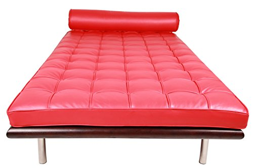 MLF Pavilion Modern Daybed / Mies Couch(Multi Colors Available), Top Grain Red Premium Aniline Leather with 12cm Wide Dark Walnut Frame